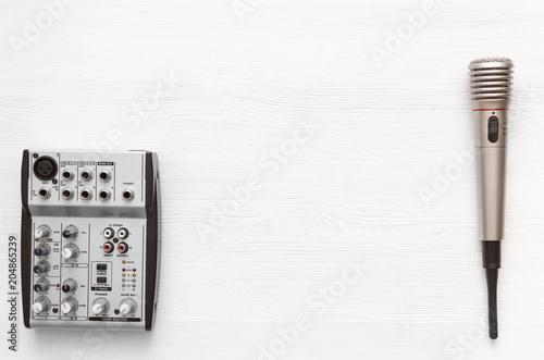 Audio recording studio desk table  Karaoke mock up  Song lyrics