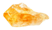 Raw Crystal Of Citrine Gemstone Isolated