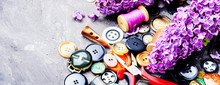 Various Sewing Button And Lilac Branch