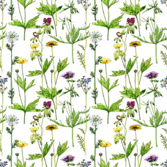 Panel Szklany Łąka seamless pattern with flowers and plants