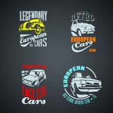 Set Of Retro Colored Vintage Logotypes