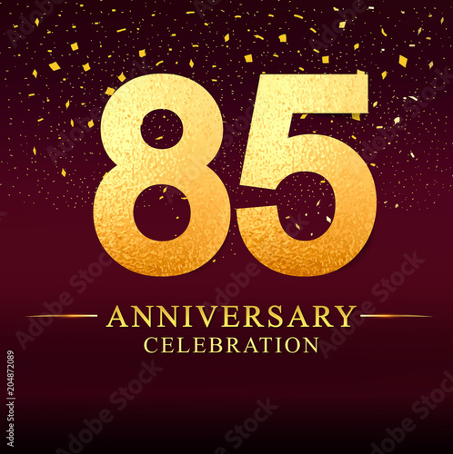 Fotomural 85 years anniversary logo with golden and on dark pink background, vector design for invitation card, greeting card