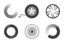 Wheel Car Icon Set Isolated On White