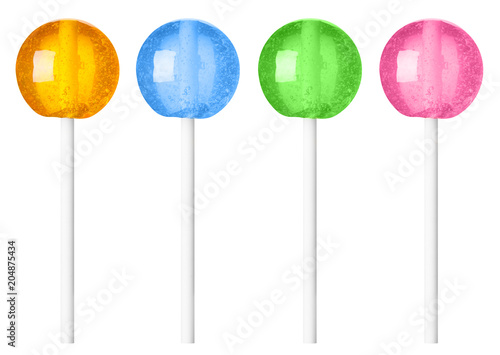 Photo  Lollipop different colors recolored isolated on white background