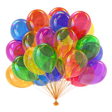 Balloons Colorful Birthday Party Decoration Multicolor, Helium Balloon Bunch Glossy Different Color. Happy Holiday, Anniversary Celebration Greeting Card. 3d Illustration