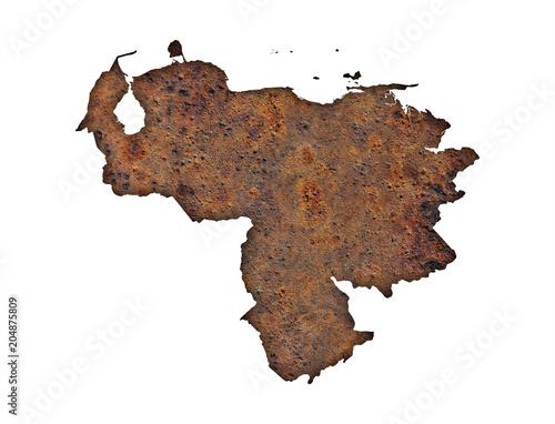 Foto op Canvas Zuid-Amerika land Karte von Venezuela auf rostigem Metall