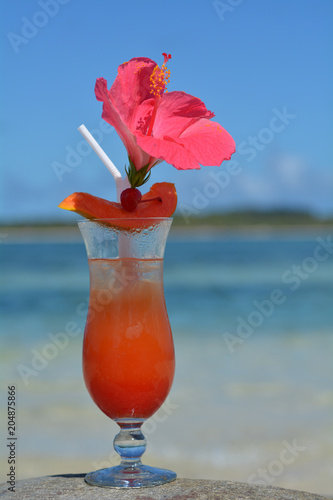 Deurstickers Cocktail Fijian cocktail served on a beach in Fiji