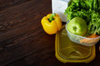 Healthy lunch prepared in small plastic container, top view, close-up.
