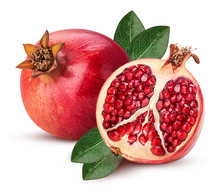 Ripe Pomegranate Fruit And One Cut In Half With Leaf