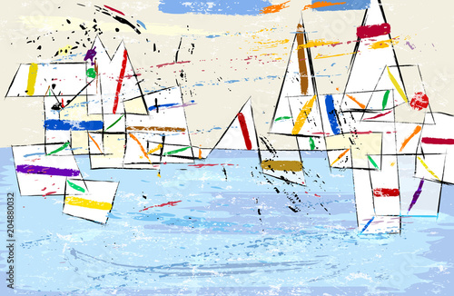 Abstract, modern art inspired illustration of sailboats, vector format.