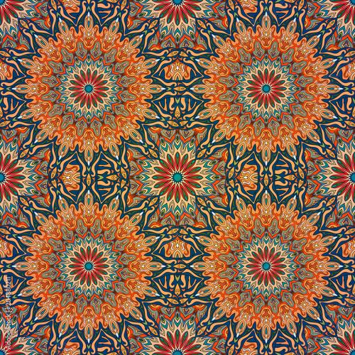 Cotton fabric Seamless pattern mandala ornament. Vintage decorative elements. Hand drawn oriental background.
