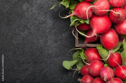 Exotic red radish, red and white vegetable food. Copy space for text.