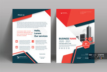 Abstract Vector Modern Flyers Brochure / Annual Report /design Templates / Stationery With Red And Gray Geometric Background In Size A4