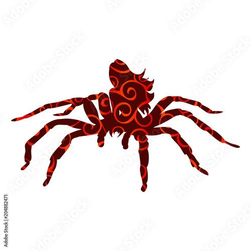 Fotografie, Obraz  Arachne spider monster woman pattern silhouette ancient mytholog
