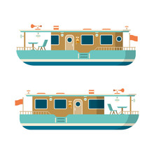 Vector Sea Or River Pleasure Yacht In Flat Style