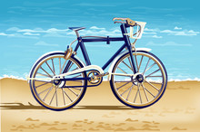 Realistic Bicycle On The Beach...