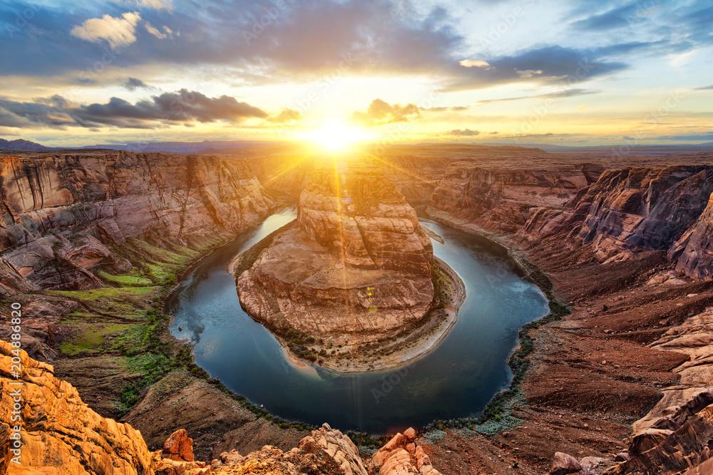 Fototapety, obrazy: Horseshoe Bend i Colorado River o zachodzie słońca