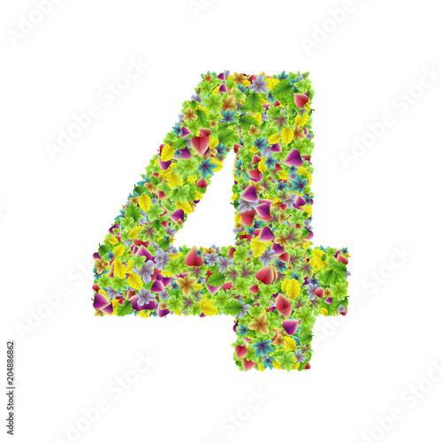 Cuadros en Lienzo Vector colorful botanical garden fresh leaves font, numeral 4