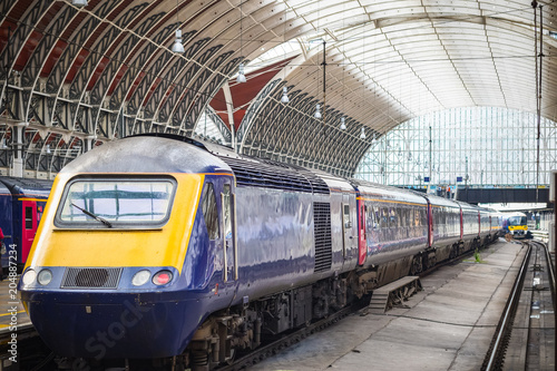 Trains leaving Paddington railway station in London