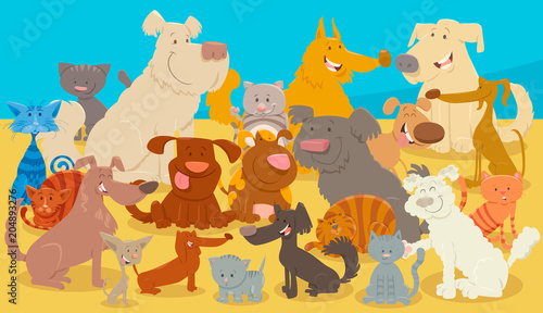 dogs and cats cartoon animal characters #204893276