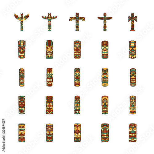 Totem icons set, cartoon style Wall mural