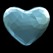 Heart Made In Low Poly Style Isolated On Black Background. 3d