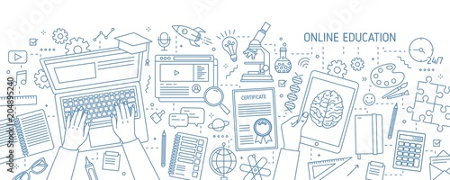 Fotografía  Horizontal banner with hands typing on computer and various office supplies drawn with contour lines on white background