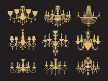 Set Of Vintage Chandeliers Iso...