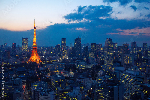 Poster Aziatische Plekken Aerial view over Tokyo tower and Tokyo cityscape with high rise architecture at sunset in Tokyo, Japan