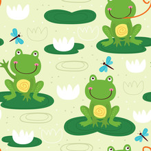 Seamless Pattern With Cute Fro...
