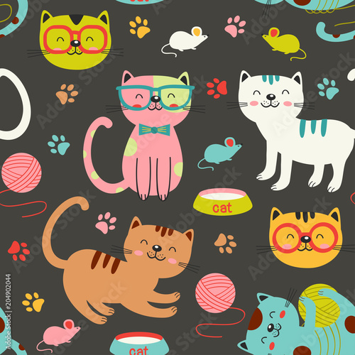 Türaufkleber Künstlich seamless pattern with colorful cats - vector illustration, eps