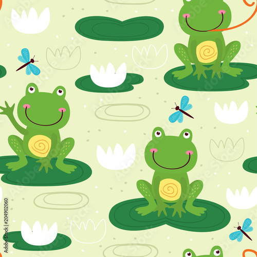 seamless pattern with cute frog - vector illustration, eps