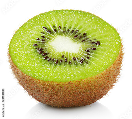 Half ripe kiwi fruit isolated on white background