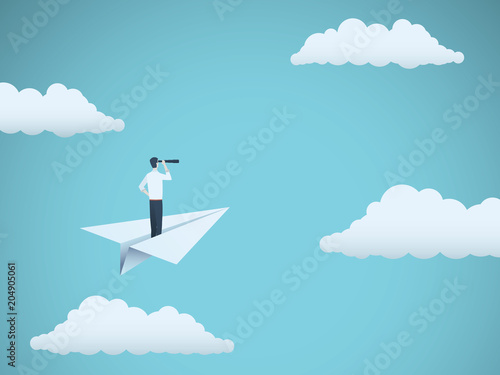 Cuadros en Lienzo Business vision vector concept with businessman and telescope on paper plane