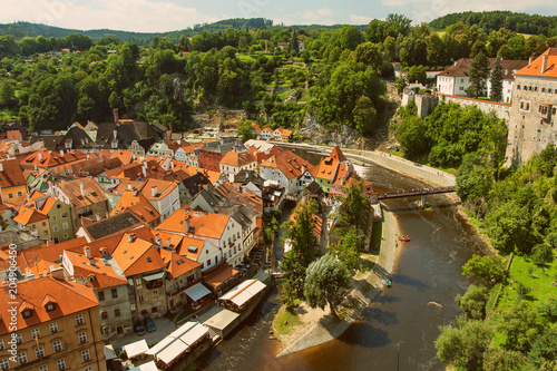 CESKY KRUMLOV, BOHEMIA, CZECH REPUBLIK - View at The Old town and Moldau River Poster