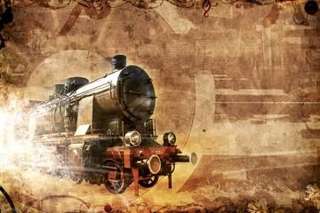 Fototapeta old steam train, vintage grunge background
