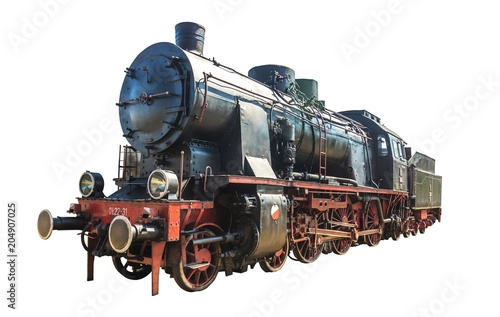 Cuadros en Lienzo Old steam train isolated on white