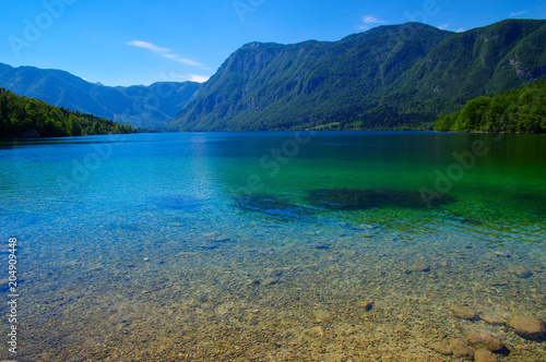Poster Bergen Landscape Bohinj Lake,with clear water.