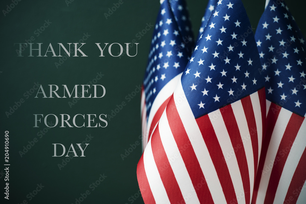 Fototapety, obrazy: text armed forces day and american flags