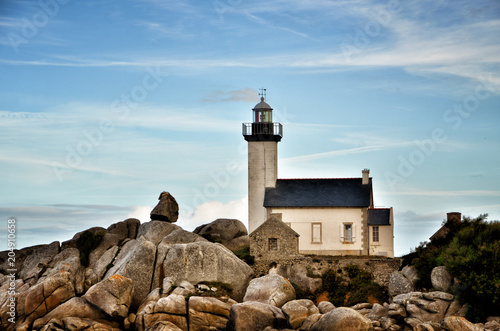 Foto op Canvas Vuurtoren Pontusval, Brittany, the little lighthouse