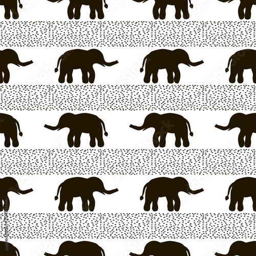 bezszwowy-wzor-z-czarnymi-sloniami-i-kropkami-na-bialym-tle