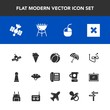 Modern, simple vector icon set with sensu, grill, technology, football, scuba, protection, bbq, strategy, weather, fan, soccer, sign, parasol, banner, station, device, phone, ball, barbecue, ice icons