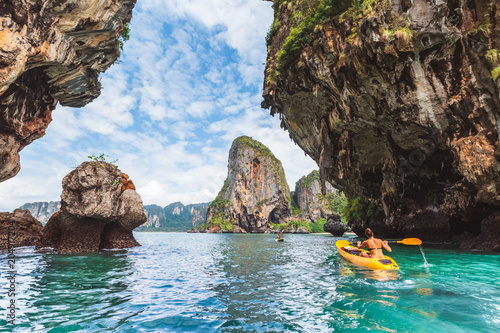 Staande foto Asia land Crystal clear sea at Railay Beach - Krabi province, Thailand