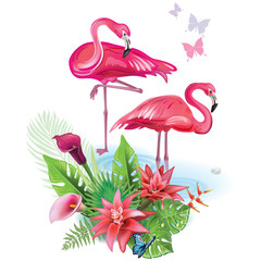 Fototapeta Egzotyczne Arrangement from tropical flowers and Flamingoes