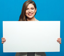 Smiling Woman Holding White Billboard For Advertising Sign.