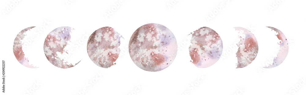 Fototapety, obrazy: Watercolor illustration: various moon phases isolated on white background. Hand painted modern space design.