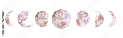 Photographie  Watercolor illustration: various moon phases isolated on white background
