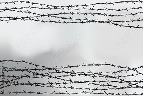 Fotomural Barbed wire fencing