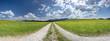 canvas print picture - Panorama Landschaft im Allgäu bei Füssen mit Blumenwiese im Frühling