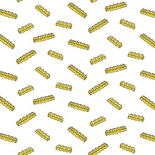 Hand Drawn Vector Illustration Of Crinkle Cut Fries Pattern In Cartoon Style.